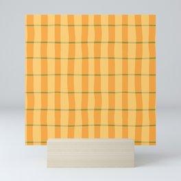 Modern Abstract Yellow Plaid Pattern Mini Art Print