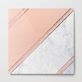 Modern stylish rose gold glitter geometric stripes blush pink white marble color block Metal Print