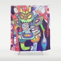 kaiju Shower Curtains featuring Kuri and the Kaiju by kuri