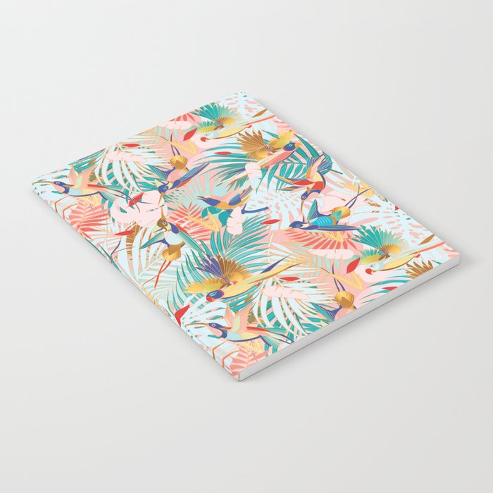 Colorful, Vibrant Paradise Birds and Leaves Notebook