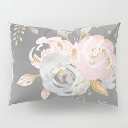 Night Rose Garden Gray Pillow Sham