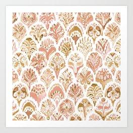 PAISLEY MERMAID Rose Gold Fish Scales Art Print