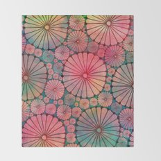 Abstract Floral Circles Throw Blanket