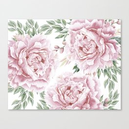 Girly Pastel Pink Roses Garden Canvas Print