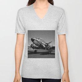 Douglas DC-3 Dakota Chrome Art Deco Airplane black and white photograph / art photography by Brian Burger Unisex V-Neck