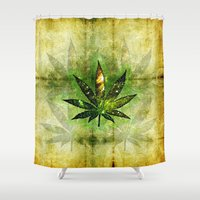 cannabis Shower Curtains featuring Marijuana Leaf - Design 3 by Spooky Dooky