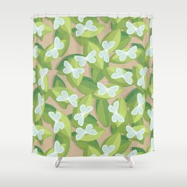 Wood White Shower Curtain