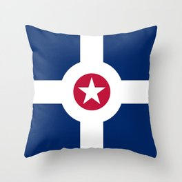 indianapolis city flag united states of america Throw Pillow