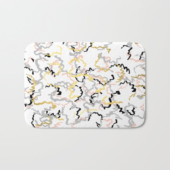 Mikki - gold pastel rose pink abstract painting brushstrokes minimal modern urban hipster street Bath Mat