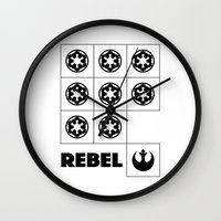 rebel Wall Clocks featuring Rebel by JuakiR