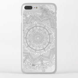 gray splash mandala swirl boho Clear iPhone Case