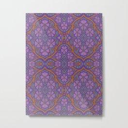 Nocturnal Flowers, Floral Arabesque, Bohemian Pattern Metal Print