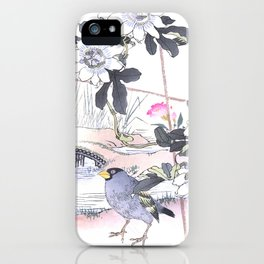Couple Of Grosbeak Birds And Passiflora Vines - Antique Japanese Woodblock Print Art - Kono Bairei iPhone Case