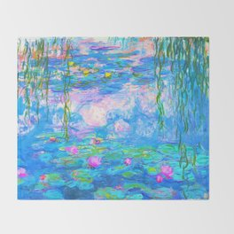 Monet Water Lilies - Pastel Fluro Throw Blanket