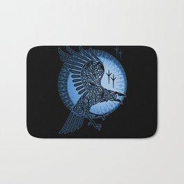 Viking Raven of Death - Blue Bath Mat
