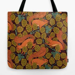 Vintage Art Deco Squirrel and Leaves Tote Bag