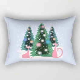Pink And Perfect Kitty Cats In The Sparkling Snow Rectangular Pillow