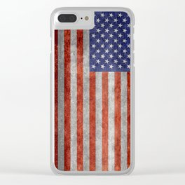 Flag of the United States of America in Retro Grunge Clear iPhone Case