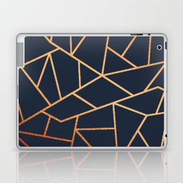 Navy Blue Golden Copper Pattern Laptop & iPad Skin