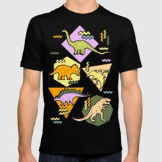 Nineties Dinosaur Pattern version 2. Mens Fitted Tee MEDIUM Black