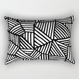 Black Brushstrokes Rectangular Pillow