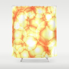Gentle intersecting golden translucent circles in pastel colors with glow. Shower Curtain