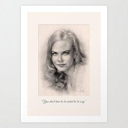 Art Portrait & Quote: Nicole Kidman Art Print