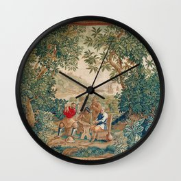 Verdure 18th Century French Tapestry Print Wall Clock