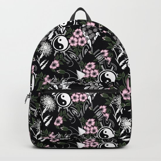 Abstract .floral black and white pattern. Backpack