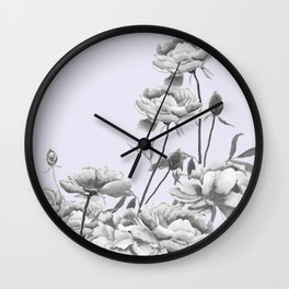 black and white peony i purple background Wall Clock