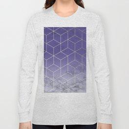 Geometric Marble Ultraviolet Purple Gold Long Sleeve T-shirt