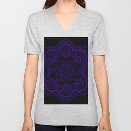 Mandala Deep Indigo Blue Black Unisex V-Neck