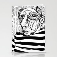 pablo picasso Stationery Cards featuring Pablo Picasso by Benson Koo