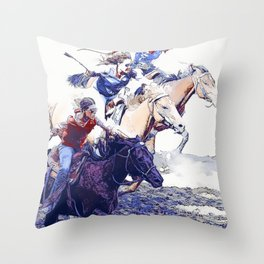 Horse Racing Cowgirls Throw Pillow