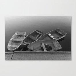 Four Skiffs Black and White Canvas Print