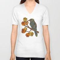 valentina V-neck T-shirts featuring Bravebird by Valentina Harper