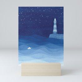 Lighthouse & the paper boat, blue ocean Mini Art Print