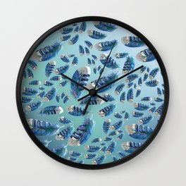 """""""Blue feathers flying in the air"""" Wall Clock"""