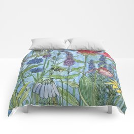 Lady Slipper Orchid Garden Flower Botanical Floral Watercolor on Canvas Comforters