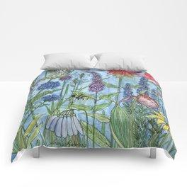 Watercolor Garden Flower Botanical Wildflowers Lady Slipper Orchid Comforters