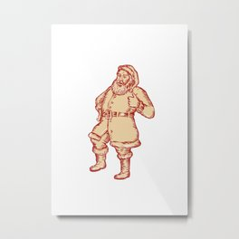 Santa Claus Father Christmas Thumbs Up Etching Metal Print