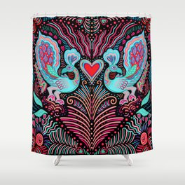 Peacock Valentines Shower Curtain