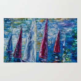 Sails To-night oil painting with Palette Knife Rug