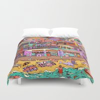 waldo Duvet Covers featuring Fried n' Cheesy by Valeriya Volkova