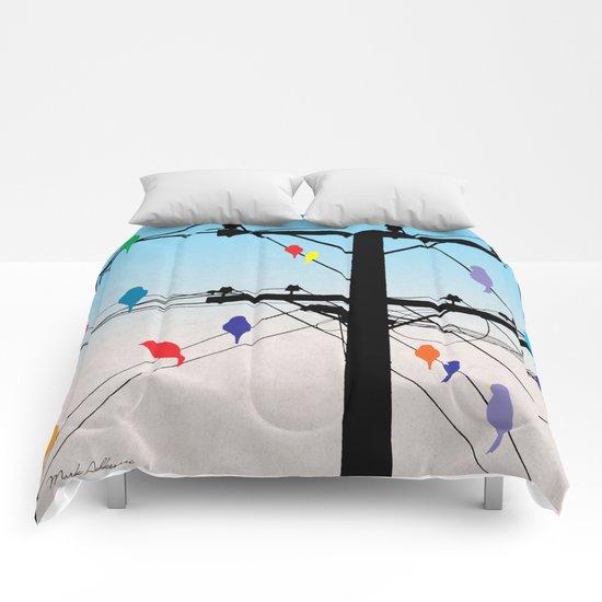 birds blue Comforters