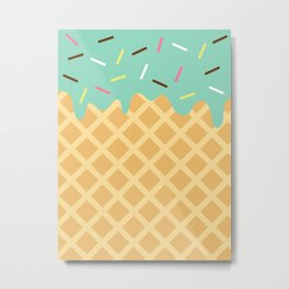 Mint Ice Cream with Sprinkles Metal Print