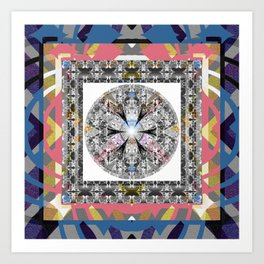 Modern Abstract Frame Glow Floral Sacred Mandala Art Print