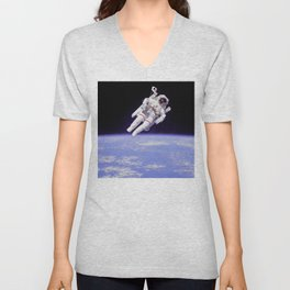 Astronaut on a Spacewalk Unisex V-Neck