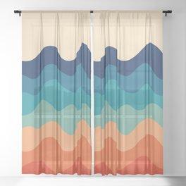 Retro 70s Waves Sheer Curtain