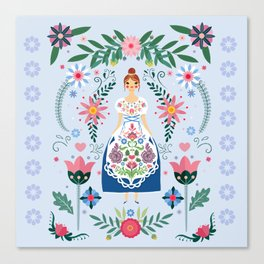 Fairy Tale Folk Art Garden Canvas Print